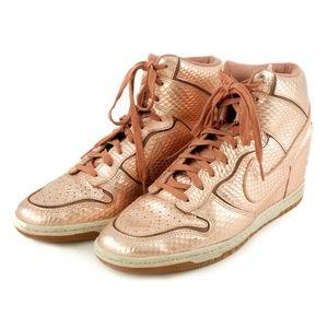 NIKE Women's Dunk Sky Hi Gold Bronze Shoes -10